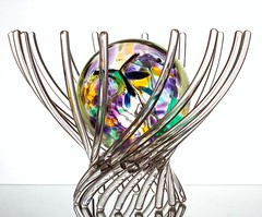 Contained (Karen_Chappell) Tags: ball orb sphere round circle glass white purple pastel stilllife bowl basket green yellow blue multicoloured color colour colours colors colourful pink