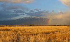 At the End of the Rainbow (Patricia Henschen) Tags: sanluisvalley sangredecristo mountains blanca massif clouds storm spring rainbow goldenhour wetland nwr nationalwildliferefuge alamosa colorado sunset alamosanationalwildliferefuge