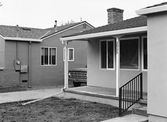San Jose, California (bior) Tags: pentax645nii 6x45cm pentax645 ilfordfilm hp5plus hp5 ilfordhp5plus 75mm sanjose california fence suburbs residential house patio ford truck