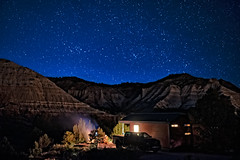 Little Cabin In The Canyon (campmusa) Tags: blue nightshots nightlights nightscape nightsky stars campfire kanab utah cannonvile escalante grandstaircase