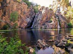 Waterfall of the Hervidero of San Agustín del Guadalix,  Cascada del Hervidero de San Agustín del Guadalix (Joerg Kaftan) Tags: augua water cascada waterfall sunset atardecer landscape madrid