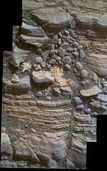 Cracked Rock Panorama 3, variant (sjrankin) Tags: 5june2019 edited nasa mars msl curiosity galecrater panorama layers rocks cracks dust sand
