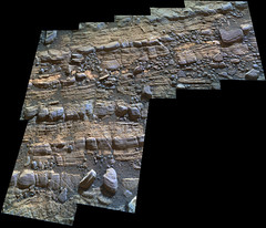 Cracked Rock Panorama 2, variant (sjrankin) Tags: 5june2019 edited nasa mars msl curiosity galecrater panorama layers rocks cracks dust sand