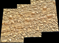 Cracked Rock Panorama 4, variant (sjrankin) Tags: 5june2019 edited nasa mars msl curiosity galecrater panorama layers rocks cracks dust sand