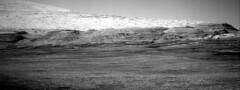 Mount Sharp and Foothills (sjrankin) Tags: 5june2019 edited nasa mars msl curiosity galecrater grayscale navcam mountsharp mountain sky haze hills nrb611704561edrs0751916ncam00595m