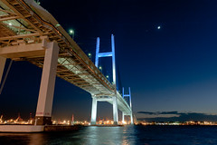 091221 Bay Bridge-03.jpg (Bruce Batten) Tags: bridges celestialobjects honshu japan kanagawa lighthouses locations moon night northpacificocean oceansbeaches planets reflections subjects tokyobay transportationinfrastructure urbanscenery venus yokohama yokohamabay