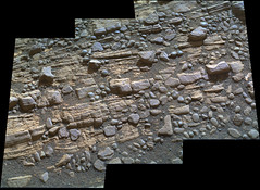 Cracked Rock Panorama 4, variant (sjrankin) Tags: panorama mars sand rocks edited nasa layers cracks dust curiosity msl galecrater 5june2019