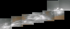 Cloudy Gale Crater 1, variant (sjrankin) Tags: 5june2019 edited nasa mars msl curiosity galecrater panorama output colorized bayerdecoded clouds weather sky haze