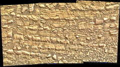 Cracked Rock Panorama 5, variant (sjrankin) Tags: 5june2019 edited nasa mars msl curiosity galecrater panorama layers rocks cracks dust sand