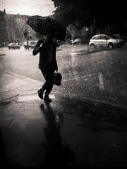 Hard Rain (LoKee Photo) Tags: lokee lowkey black white light shadow street city urban monochrome people silhouette rain umbrella drop fujilm gfx 50r
