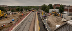 The straight edge (Peter Leigh50) Tags: market harborough station meridian high speed train east midland trains main line straight platform footbridge construction site building town townscape landscape panorama track railway railroad rail