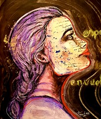 Tanja (franck.sastre) Tags: art mujer retrato painting picture colors palabras eyes lips
