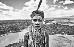 Karo Tribe (Rod Waddington) Tags: africa african afrique afrika äthiopien ethiopia ethiopian ethnic ethnicity etiopia ethiopie etiopian minority outdoor omovalley omo omoriver outdoors landscape water clouds woman regalia forest forrest traditional tribe tribal karo blackandwhite mono monochrome culture cultural