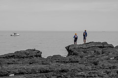 Two Fishermen (Anthony Kernich Photo) Tags: hallettcove rock fishing fisherman recreationalfishing adelaide australia southaustralia sa landscape view outdoor afternoon day olympus olympusem10 olympusomd microfourthirds lumix sky travel sightseeing country water shore pleasant flickr roadtrip beach coastline lookout sand ocean sea blackandwhite bw monochrome mono grayscale selectivecolor people person life seascape summer