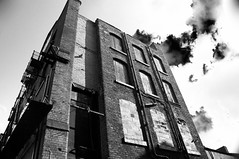 Abandoned (Peter Rea 13) Tags: art architecture artistsontumblr abstract ancoats blackandwhite biutifulpics building brick city d300s experimental derelict gradient bnw imiging lensblr lightisphotography luxlit manchester nikon originalphotographers originalphotography photographersontumblr peterreaphotography photography pws p58 quarter streetphotography submission street telescopical urban xonicamagazine ycphotographs monochrome clouds moody lookingup windows