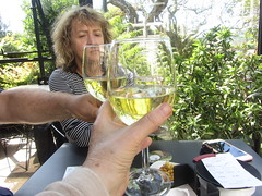 Enjoying wine in the Terrace/garden of the Hotel Costa Vella,   Rua  Porta  da  Pena,  Santiago  de Compostela,  Galicia, Spain (d.kevan) Tags: bars restaurants terraces gardens wine people richard sandy me foliage plants trees glasses reflections tables seats santiagodecompostela hotelcostavella spain galicia ruaportadapena bill phone nuts