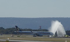 Singapore Airlines A350 welcome to Perth (barnettmark39) Tags: singaporeairlines perthairport a350 watercannon