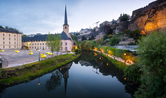 Luxembourg-City, tourist spot (jahbalaha) Tags: ifttt 500px luxembourg 2019 city gronn alzette river medieval church grund green tower fortress water architecture spring blue cityscape abbey pano panoramic stitching hour lights mirror casemate casemates