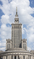 Palace of Culture and Science in Warsaw, Poland (Cat Girl 007) Tags: architecture artdeco brick building capital city cityscape clock communism communist culture daytime destination downtown europe exterior famous historic landmark large monument outdoor palace poland polish realism retro science skyline skyscraper socialism socialist stalinism stalinistic structure symbol symbolic tall tourism tower town travel urban verticalview warsaw warszawa