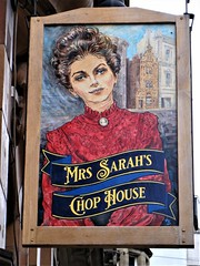 Manchester street art = Mrs Sarah's Chop House (rossendale2016) Tags: restaurant centre city manchester house chop sarah's mrs