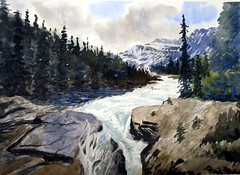 A Scene in Icefields Parkway, 2019-06-05 (light and shadow by pen) Tags: watercolor landscape calgary icefieldparkway art