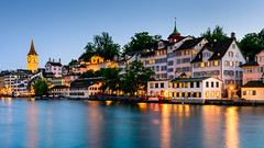 Sunset At Zurich (drasphotography) Tags: zürich2019 city travel blue urban reflection river schweiz switzerland cityscape waterfront suisse zurich hour romantic zürich ufer reflektion limmat travelphotography reisefotografie flus d810 nikkor2470mmf28 drasphotography
