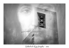 Cathedral of Our Lady of the Angels (Christina's World : On & Off) Tags: architecture historicbuilding building bells cross cath cathedral losangeles blackandwhite monochrome bw composite radiant topaz artistic california dramatic exotic eyes christian painting impressionism june male outdoors street streetphotography textures unitedstates usa urban uptown white black gray youngadult 6154 6145 border cathedralofourladyoftheangels cola cathedraloflosangeles text fragiletouch