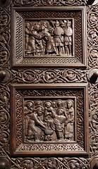 Wood carving (sfryers) Tags: svetogduje svetidujam cathedral door historic romanesque wood carving split dalmatia croatia hrvatska smc pentaxfa 35mm 12
