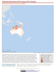 Total Area Burned for All Fire Types, 2015: Oceania (SEDACMaps) Tags: oceania hazards health landuse remotesensing sustainability ciesin sedac maps