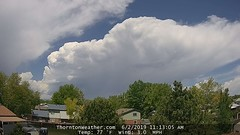 June 2, 2019 - Thunderstorms build in the west. (ThorntonWeather.com)