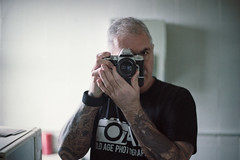 My F80 and me (Howie Mudge LRPS BPE1*) Tags: me myself i selfie nikonf80 nikon50mmf14af kodakportra160 negative mirror reflection analog analogphotography analogue 35mmfilmphotography 35mmfilmcamera film filmphotography man tattoos flipped
