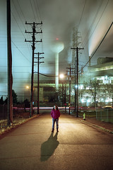(patrickjoust) Tags: fujica gw690 kodak portra 160 6x9 medium format rangefinder 90mm f35 fujinon lens c41 color negative film cable release tripod long exposure night after dark manual focus analog mechanical patrick joust patrickjoust rustbelt usa us united states north america estados unidos small town vertical pennsylvania pa steel braddock amy woman standing mill steam road wires telephone polls