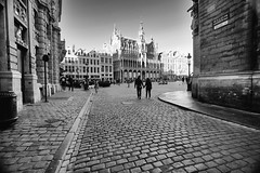 Path to the Grand Place in Brussels, Belgium (` Toshio ') Tags: toshio brussels belgium europe europeanunion european grandplace guildhouses museum people tourist bw blackandwhite street square fujixt2 xt2
