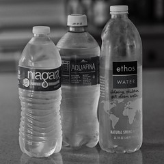 Water (mdhwrites@verizon.net) Tags: three blackandwhite bottles labels cf19