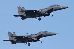 USAF F-15E Strike Eagles (nickchalloner) Tags: 970220 980131 97220 98131 mcdonnell douglas boeing f15e f15 strike eagle 492 492nd fs fighter squadron 48 48th fw wing liberty ln raf lakenheath royal air force lkz egul usaf usafe united states america