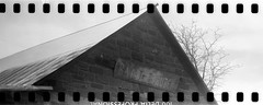 (No Stone Unturned Photography) Tags: black white monochrome kodak folding expired ilford delta 100 35mm film sprocket holes jiffy camera art deco 1933 six16 616 panoramic abandoned church