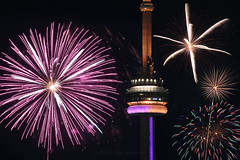 CN Tower and Fireworks of Art (Katrin Ray) Tags: dazzlingfireworksintoronto victoriadayfireworks torontodowntown victoriaday may202019 lastmondaybeforemay25 bluehourfireworks downtown cntower bluehour fireworks lights colours longexposure composite fireworksatashbridgesbay bluehourindowntown photomontage toronto ontario canada katrinray dreamscapesoftoronto night canon canonphotography eos rebel t6i 750d