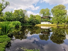 Parks and Gardens (Mellisapix) Tags: sunny nature reflection trees water pagoda pond lake green publicspace garden park vondlepark amsterdam