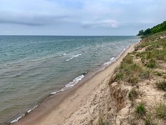 Sand Cliffs of Grand Mere (mswan777) Tags: shore coast beach dune sand grass water horizon waves seascape sky cloud apple iphone iphoneography mobile stevensville michigan nature outdoor scenic blue