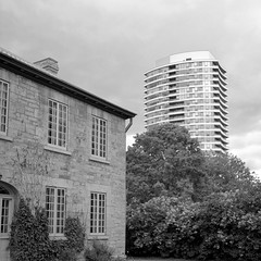 Old and new in Westboro (Howard Sandler (film photos)) Tags: westboro architecture maplelawn blackandwhite film square 6x6 agfa isolette acros xtol epson v750