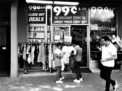 99 Cent & Up (Robert S. Photography) Tags: store 99cent signs people street brooklyn newyork shirts bw monochrome sony dsch55 iso80 june 2019