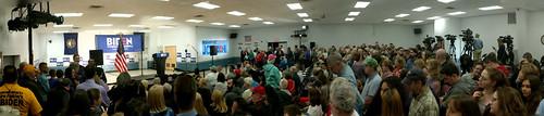 Crowd waiting for Joe Biden