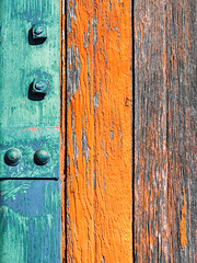 Metalwood (jaxxon) Tags: 2019 d610 nikond610 jaxxon jacksoncarson nikon nikkor lens nikon105mmf28gvrmicro nikkor105mmf28gvrmicro 105mmf28gvrmicro 105mmf28 105mm macro micro prime fixed pro abstract abstraction wood paint peelingpaint distressed weathered boards planks orange metal bolts rivets painted rural decay