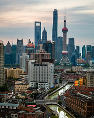 P0000578 Shanghai Sunrise 02-Jun-2019 (f/13 photography) Tags: shanghai china pudong cbd long exposure clouds river downtown sunrise dawn skyline cityscape architecture buildings skyscrapers pearl tower phase one iq4 iq4150 150mp alpa 12max max rodenstock hr 90 lens