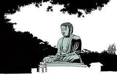 Great Buddha, Kamakura. April 2019 (stevefaradaysketches) Tags: greatbuddha sculpture statue kamakura japan inkdrawing illustration urbansketch urbansketchers usk onlocation fineliner penandinksketch silhouette