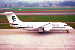 Flightline BAe 146-200; G-OZRH@ZRH;09.03.1997 (Aero Icarus) Tags: zrh zürichkloten zürichflughafen zurichairport lszh plane avion aircraft flugzeug negativescan