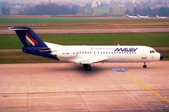 MALEV Hungarian Airlines Fokker 70; HA-LMB@ZRH;09.03.1997 (Aero Icarus) Tags: zrh zürichkloten zürichflughafen zurichairport lszh plane avion aircraft flugzeug negativescan malev hungarianairlines fokker70 halmb