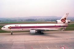 Thai Airways MD-11; HS-TMD@ZRH;09.03.1997 (Aero Icarus) Tags: zrh zürichkloten zürichflughafen zurichairport lszh plane avion aircraft flugzeug negativescan thaiairways md11 hstmd trijet