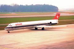 Swissair MD-81; HB-INY@ZRH;09.03.1997 (Aero Icarus) Tags: zrh zürichkloten zürichflughafen zurichairport lszh plane avion aircraft flugzeug negativescan swissair md81 hbiny md80