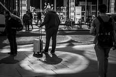Spotlight (Leanne Boulton) Tags: urban street candid streetphotography candidstreetphotography streetlife man male travel suitcase travelling transport crossing road sidewalk spotlight reflected sunlight tone texture detail depth naturallight outdoor light shade shadow city scene human life living humanity society culture lifestyle people canon canon5dmkiii 70mm ef2470mmf28liiusm black white blackwhite bw mono blackandwhite monochrome glasgow scotland uk
